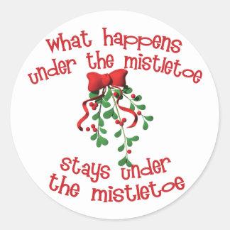 What Happens Under The Mistletoe Classic Round Sticker