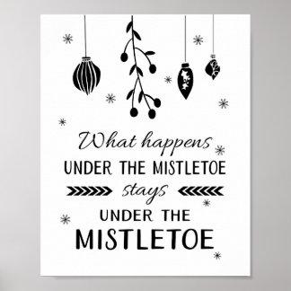 What Happens Under The Mistletoe Stays Christmas Poster