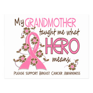 What Hero Means Breast Cancer Grandmother Postcard