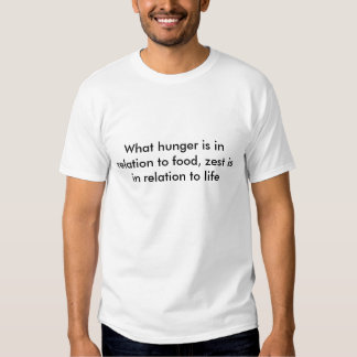 What hunger is in relation to food, zest is in ... shirt