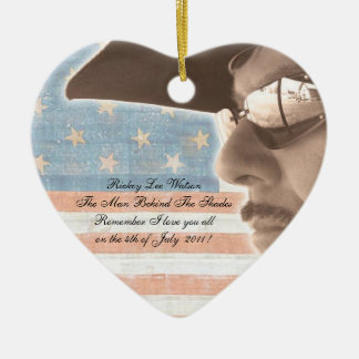 What I Love about America Double-Sided Heart Ceramic Christmas Ornament