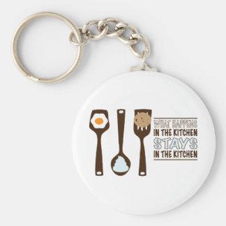 What In The Kitchen Stays In The Kitchen Basic Round Button Keychain