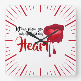 What is in my heart? square wall clock