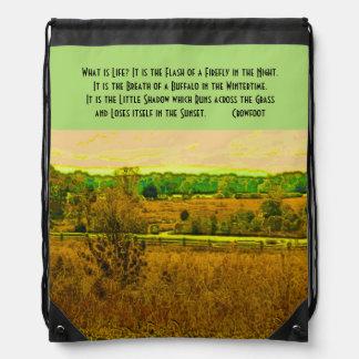 What is life? crowfoot drawstring backpacks