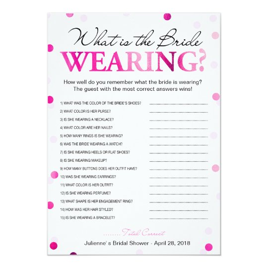 what is the bride wearing game magenta confetti invitation