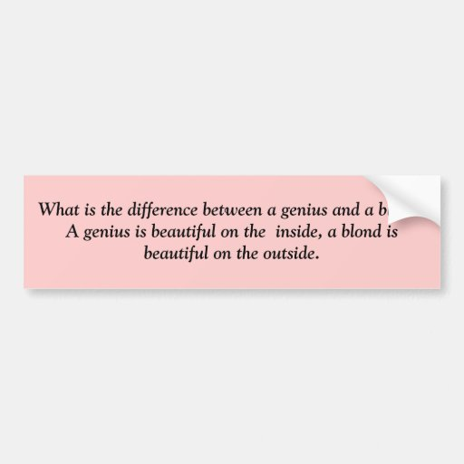 What is the difference between a genius and a b... car bumper sticker