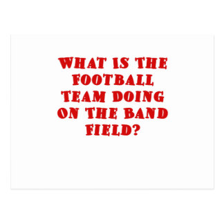 What is the Football Team doing on the Band Field Post Cards