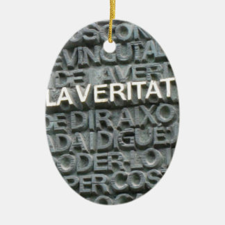 What is the Truth? - Que es la Vertat? Double-Sided Oval Ceramic Christmas Ornament