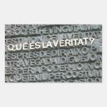 What is the Truth? - Que es la Vertat? Rectangular Sticker