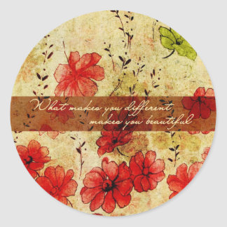 What makes you different makes you beautiful classic round sticker