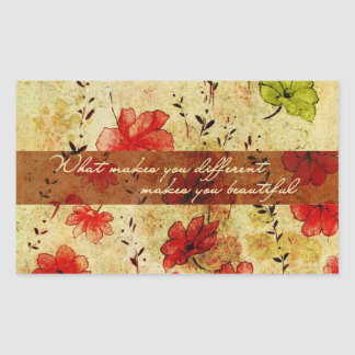 What makes you different makes you beautiful rectangular sticker