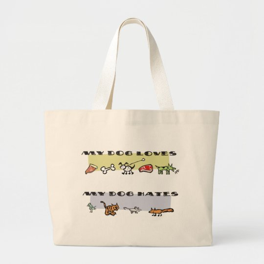 What my dog loves & hates, puppy likes & dislikes large tote bag