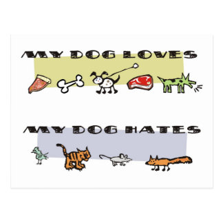 What my dog loves & hates, puppy likes & dislikes postcard