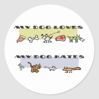 What my dog loves & hates, puppy likes & dislikes round sticker