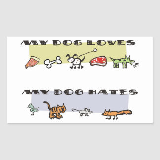What my dog loves & hates, puppy likes & dislikes rectangle stickers