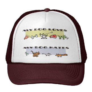 What my dog loves & hates, puppy likes & dislikes trucker hat