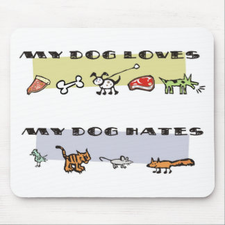 What my dog loves, puppy likes & dislikes mouse pad