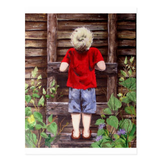 What Now? a painting of a boy being a boy Postcard