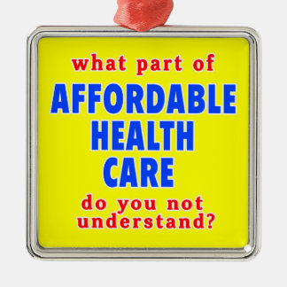 What Part of Affordable Health Care do You Not Und Square Metal Christmas Ornament