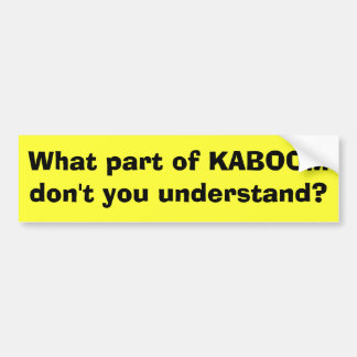 What part of KABOOM don't you understand? Car Bumper Sticker