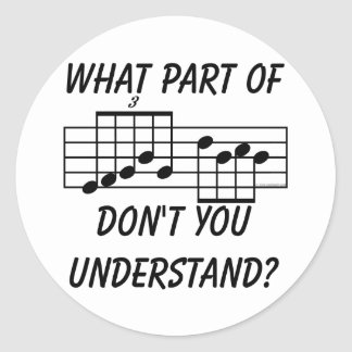 What Part Of Musical Notation Don't You Understand Classic Round Sticker