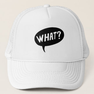 WHAT QUESTION SPEECH BUBBLE COMICS, COMIC BOOK, FO TRUCKER HAT
