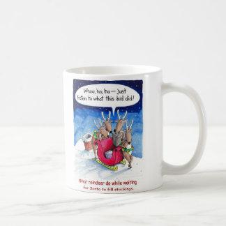 What reindeer do while waiting for Santa Coffee Mug