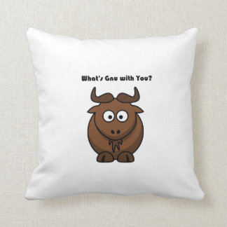 What's Gnu Buffalo Cartoon Throw Pillow