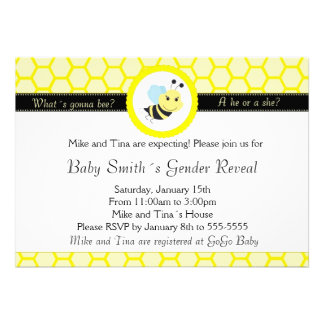 What´s gonna bee baby shower gender reveal custom invitations