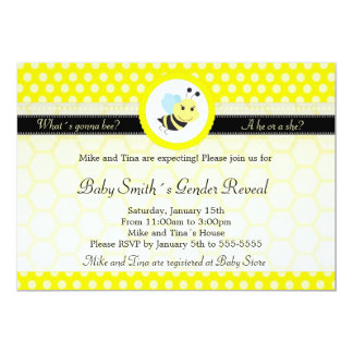 What´s gonna bee baby shower gender reveal polka invitation