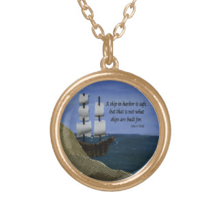 What Ships are Built For Fabric Collage Round Pendant Necklace