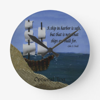 What Ships are Built For Fabric Collage Round Clock
