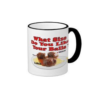 What Size Do You Like Your Balls ? (Meatballs) Ringer Mug