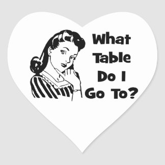 What Table Do I Go To? Heart Sticker