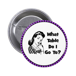 What Table Do I Go To? Pinback Button