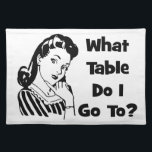 "What Table Do I Go To? Placemat<br><div class=""desc"">Here is a fun retro graphic design that features a woman pondering &quot;What Table Do I Go To?.  This design works well for Bunco groups,  waiters,  waitresses,  restaurants,  bars or just for fun.</div>"