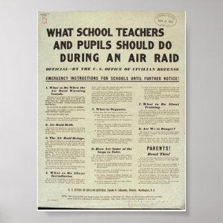 """What Teachers + Pupils Should do in an Air Raid"" Poster"