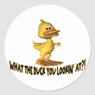 What The Duck You Lookin At Classic Round Sticker