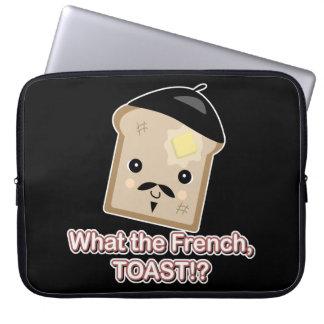 what the french toast cute kawaii toast cartoon computer sleeves