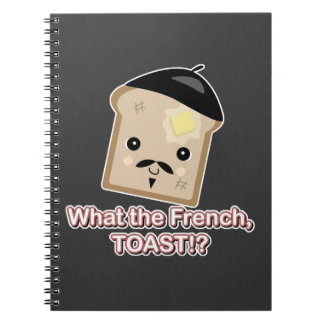 what the french toast cute kawaii toast cartoon spiral notebooks