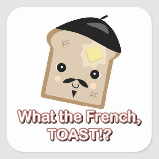 what the french toast cute kawaii toast cartoon square sticker