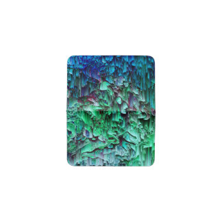 What the Glitch - Abstract Teal & Blue Pixel Art Business Card Holder
