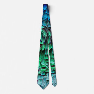 What the Glitch - Abstract Teal & Blue Pixel Art Neck Tie