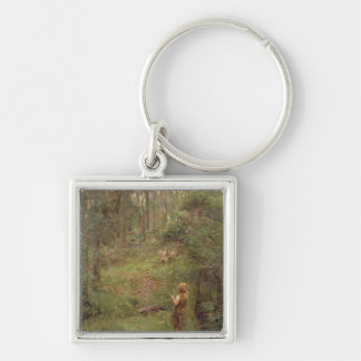 What the Little Girl Saw in the Bush, 1904 Silver-Colored Square Keychain