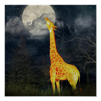 What the moon tastes like? Giraffe and Moon Poster