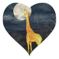 What the moon tastes like? Giraffe and Moon Sticke Heart Sticker