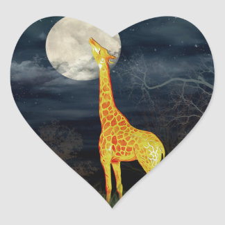 What the moon tastes like? Giraffe and Moon Sticke Heart Sticker