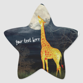 What the moon tastes like? Giraffe and Moon Sticke Star Sticker