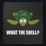 """What The Shell Turtle Funny Bandana<br><div class=""""desc"""">Tortoise pet owners,  turtle fans and Tortuga collectors joke with this cartoon what the shell. Check out this funny custom design on tees,  shirts,  mugs,  cases,  gifts and apparel.</div>"""