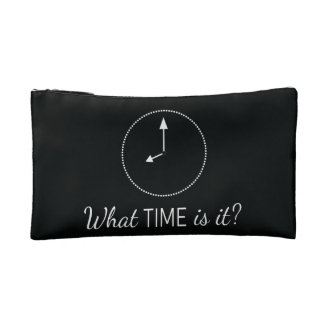"""What Time is it?"" Black =+ White Cosmetic Bag"